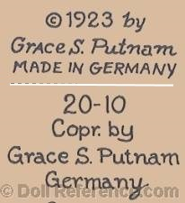 Grace S. Putnam doll mark © 1923 Grace S. Putnam Made in Germany, 20-10 Copr. by Grace S. Putnam Germany