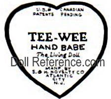 S & H Novelty Company doll mark tag, USA Canadian Patents Pending Tee-Wee Hand Babe The Living Doll made by S & H Novelty Co Atlantic City, N.J.