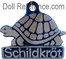 Schildkröt and Rheinische Gummi und Celluloid-Fabrik doll mark label turtle symbol