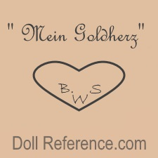 "Bruno Schmidt doll mark "" Mein Goldherz "" (My Gold Heart), BSW inside a heart symbol"