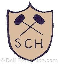 Schmitt et Fils doll mark two crossed hammers on shield SCH