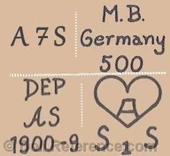 Arthur Schoenau doll mark MB Germany, A7S, MB 500 , DEP AS 1900-9, A in a heart symbol S1S