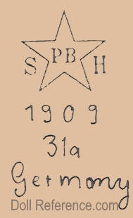 Schoenau & Hoffmeister doll mark S star symbol PB inside H 1909 31a Germany