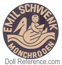 Emil Schwenk doll mark label Emil Schwenk with swan and child facing backwards on back Monchroden