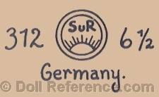 Seyfarth & Reinhardt doll mark 312 SUR sunrise symbol 6/2 Germany