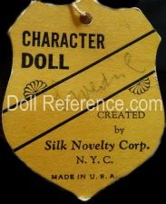 Silk Novelty Corporation doll mark tag