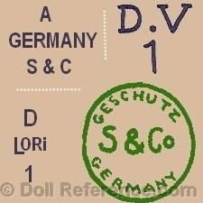 Swaine doll mark A Germany S & C, D.V. 1, D Lori 1