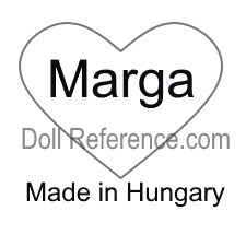Mrs. Marga Szerelemhegyi doll mark Marga inside heart symbol Made in Hungary