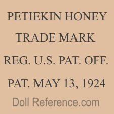 Misses Tebbets doll mark Petiekin Honey, Trade Mark Reg. U.S. Pat. Off., Pat. May 13, 1924