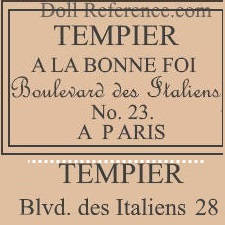 Georges Tempier doll mark label Blvd, des Italiens 23, 28