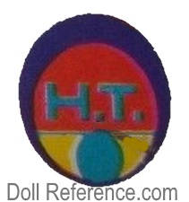 H.T. Hong Kong Tina doll mark label oval purple, oval red, gold,  oval aqua with H.T. inside