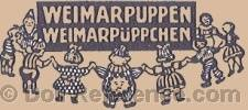 Thϋringer Stoffpuppen Fabrik cloth doll mark Weimarpuppen, Weirmarpuppchen with nine dolls holding hands