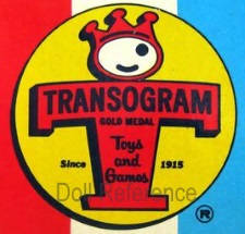 Transogram Company Inc. dolls & toys logo crown above T