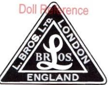 Tri-ang Line Brothers LTD. doll mark label L Bros. inside a triangle