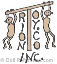 Trion Toy Company Inc. doll mark T with two stick figures holding on to top of T