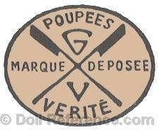 Gabrielle Verita doll mark Poupée's Verite GV two crossed flags Marque Deposee
