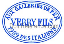 Verry et Fils  doll mark Aux Galleries Defer 1989 Des Italiens