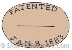 Martha L. Wellington cloth doll mark label Patented Jan. 8, 1883