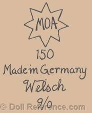 Welsch & Company GmbH. doll mark MOA 150 Made in Germany Welsch