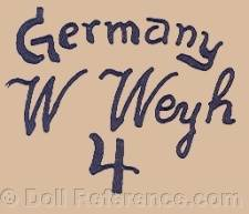 Willie Weyh doll mark Germany W. Weyh