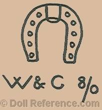 doll mark horseshoe symbol W & C 8/0