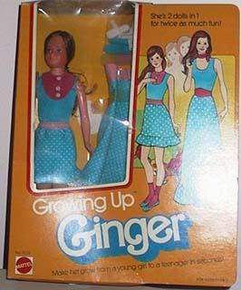 Mattel 9222 Growing Up Ginger doll 1976