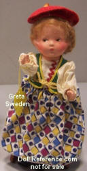 "Dollcraft Novelty Greta of Sweden doll, 8""  1939 NY Worlds Fair doll"