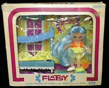 "Ideal Flatsy 4 1/2"" Susie, light blue hair"