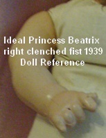 Ideal 1939 Princess Beatrix right clenched fist