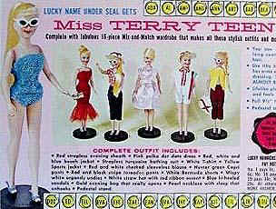 "Miss Terry Teen doll , 111/2"" tall, Barbie head clone, came with 16"