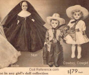 1952 Sears Miniature dolls; Nun, Cowboy, Cowgirl, 7 1/2""