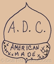 Acorn Doll Company doll mark symbol of an acorn