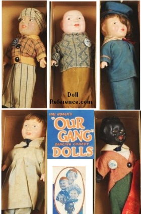 "1926 Our Gang Dolls 12""; Freckles, Fatty, Jackie, Mary, Farina"