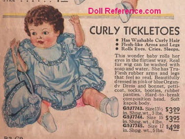 Spiegel 1933 Ideal Curly Tickletoes doll ad