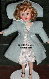 "1950's Richwood Sandra Sue doll is 8-9"" tall in blue coat & hat"