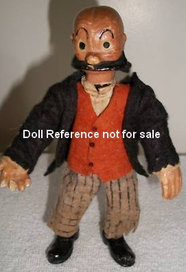 "A. Bucherer Mutt doll 6 1/4"" tall 1920s"