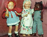1934 Freundlich Little Red Riding Hood, Grandma, Wolf dolls, 9 3/4""