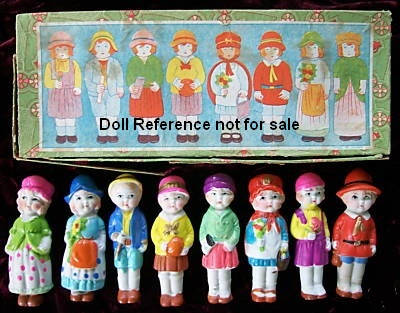 All Bisque Japan Immobile dolls 3 1/2""