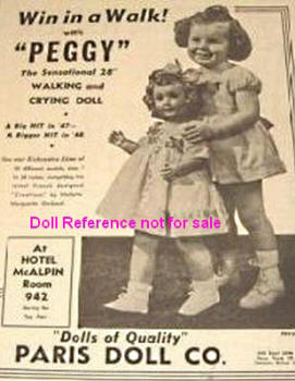 1940s Paris Peggy Walker doll ad, 28""