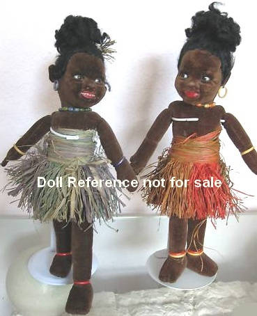 "1930s Norah Wellings two Island Girl dolls 16"" tall"